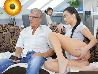 DADDY4K. Grey-haired old fellow with glasses fucks beautiful...