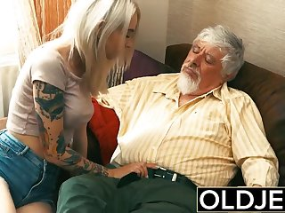 Old and Young Teen Blonde Humped by Old guy tight pussy cock