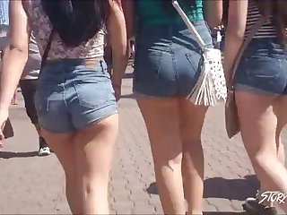 3 teens in short shorts - 2 cheek peeks