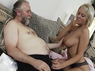 Teen and sweaty old stud